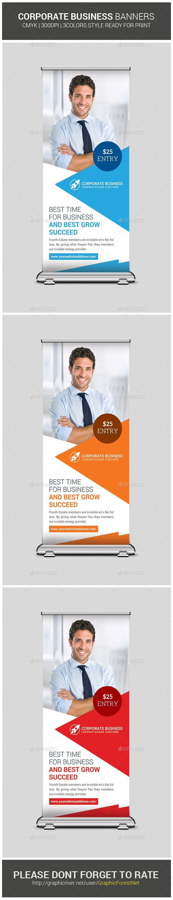 """Corporate Business Rollup Banners by GraphicForestNet Corporate Business Rollup BannersSpecification CMYK Color Mode 300 DPI Resolution Size 30""""x70"""" 0.25"""" Bleed in Each Side FeaturesFr"""
