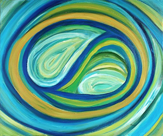 Original colorful turquoise abstract oil painting on canvas