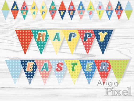 Happy Easter Banners Mini Cake Banner Polka Dot by ArigigiPixel