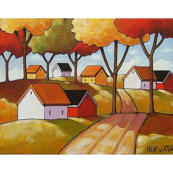 PAINTING ORIGINAL Folk Art Abstract Fall Roadway by SoloWorkStudio, $159.00