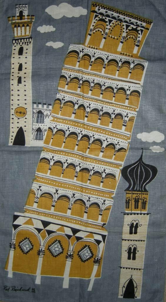 De Toren van Pisa. Op een vintage textiel print van ene Pat Pritchard. Toch leuk, Pat's Pisa!