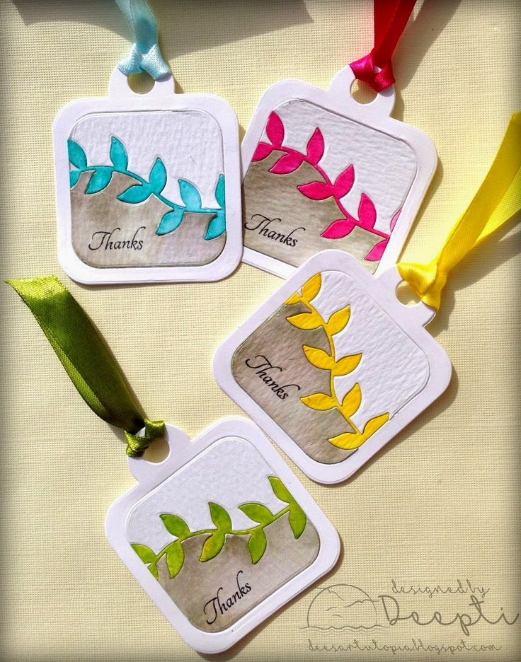 A gorgeous set of tags created by Deepti using our Casual Vine and Funky Square Tag Fri-Dies.  Love that inlaid technique!  www.cas-ualfridaysstamps.com #casfridays