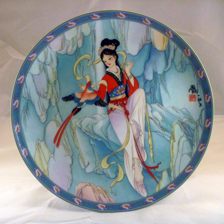1991 - Legends Of West Lake  Thread of Sky 7th plate  By Artist:Jiang Xue-Bing.  Size: 8½''.