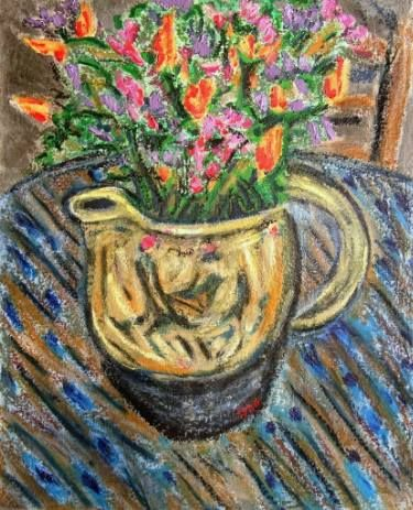 "Saatchi Art Artist Gerhardt Isringhaus; Painting, ""Poppies and Lupines in Pitcher"" #art"