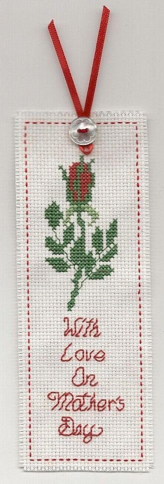 Cross Stitch  Bookmark Mother's Day Red Ribbon by LoveKnotsAndMore