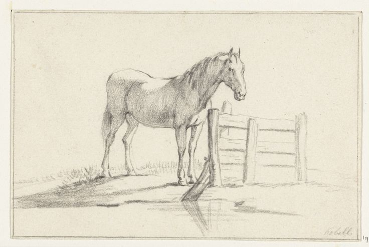 Jean Bernard | Staand paard bij een hek, naar rechts, Jean Bernard, 1775 - 1833 |