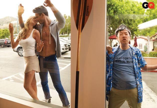 Ken Jeong Photobombs Kate Upton in GQs Slim Corduroy Pants Fashion Shoot: Wear It Now: GQ