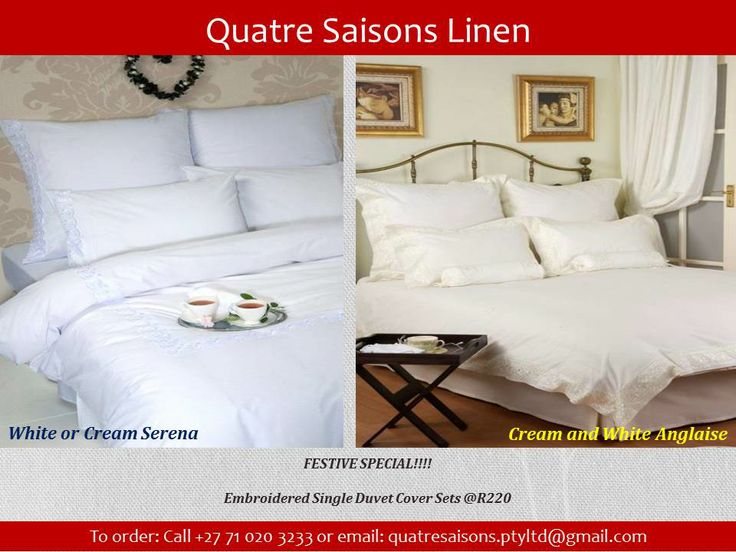 DUVET SET-White or Cream Serena  & Cream and White Anglaise - festive special