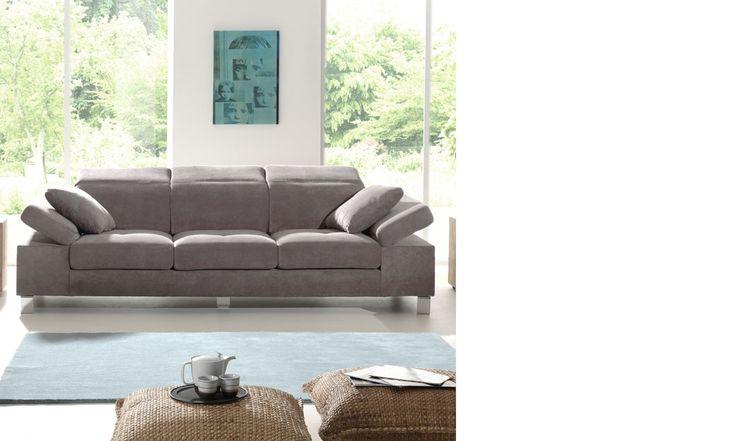 Canapé 3 places en tissu gris PHILADELPHIE