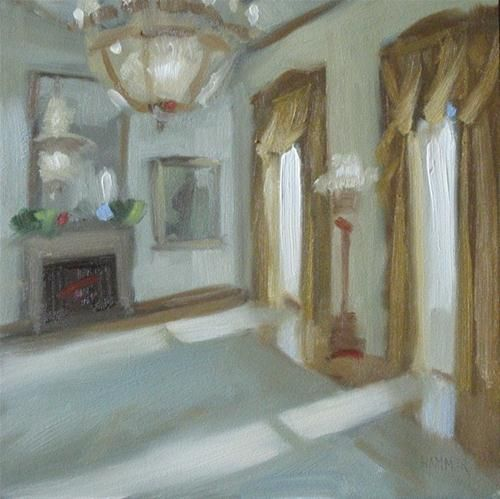 White House Room 6x6 Oil Original Fine Art For Sale