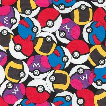 Pokemon Fabric, Pokeballs on Blue, Pikachu on Blue Kaufman fabric, 15113 Blue / 1 Yard Cuts 1/2 Yard Cuts / Robert Kaufman by SewWhatQuiltShop on Etsy
