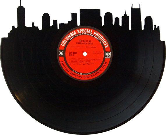 Nashville Skyline Silhouette Vinyl Record Wall Door