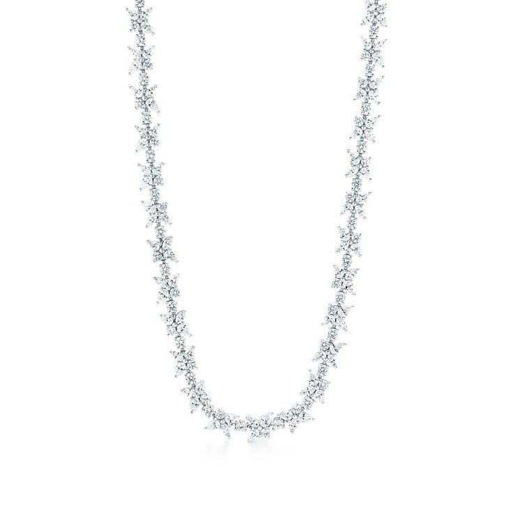 Tiffany Victoria™ mixed cluster necklace in platinum with diamonds.
