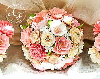 Bouquet - papier fleur Bouquet - Bouquet de mariage - Vintage Shabby Chic - fait sur mesure - n'importe quelle combinaison de couleurs de papier