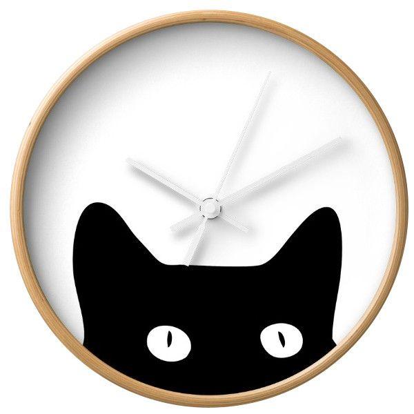Dot & Bo Peekaboo Cat Wall Clock - Natural & White ($30) ❤ liked on Polyvore featuring home, home decor, clocks, white clock, kitty cat clock, battery powered wall clock, battery operated clocks and black cat wall clock