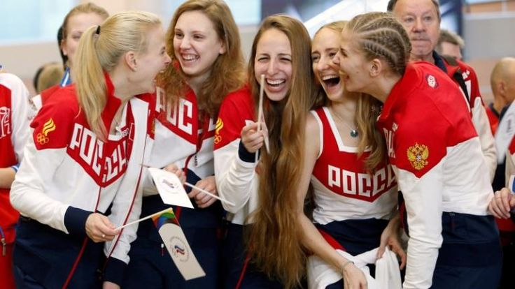 Members of Russia's synchronised swimming Olympic team pictured before they departed for the Rio 2016 Games.