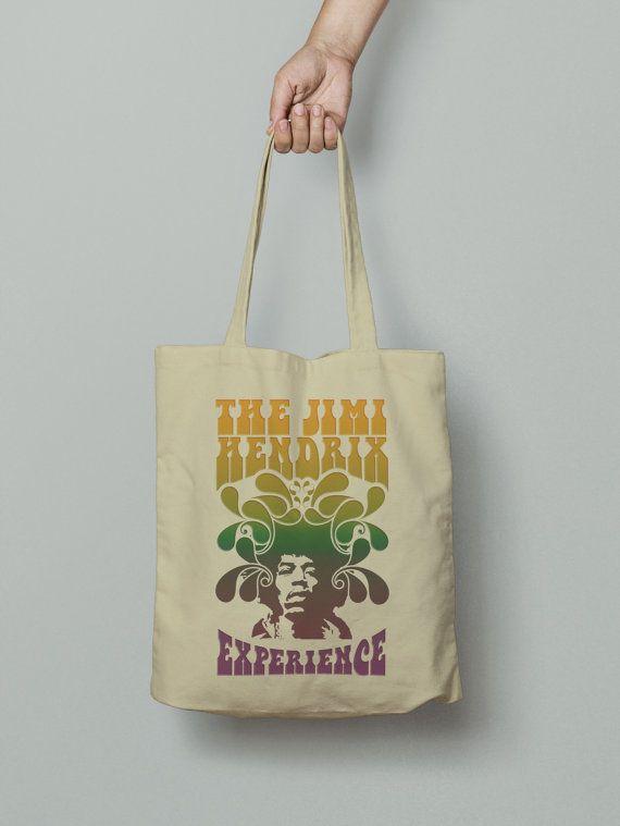 Jimi Hendrix Classic Tote Bag, Market bag, Fabric grocery bag, Shoulder strap, Unique design and gift