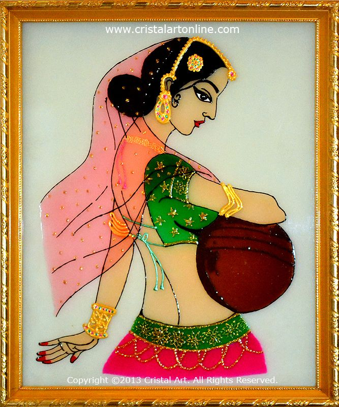 Glass PAinting of indian woman carring water