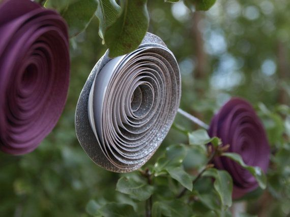 Silver Glitter and Purple Paper Flower Garland by PulpPetals, $48.65