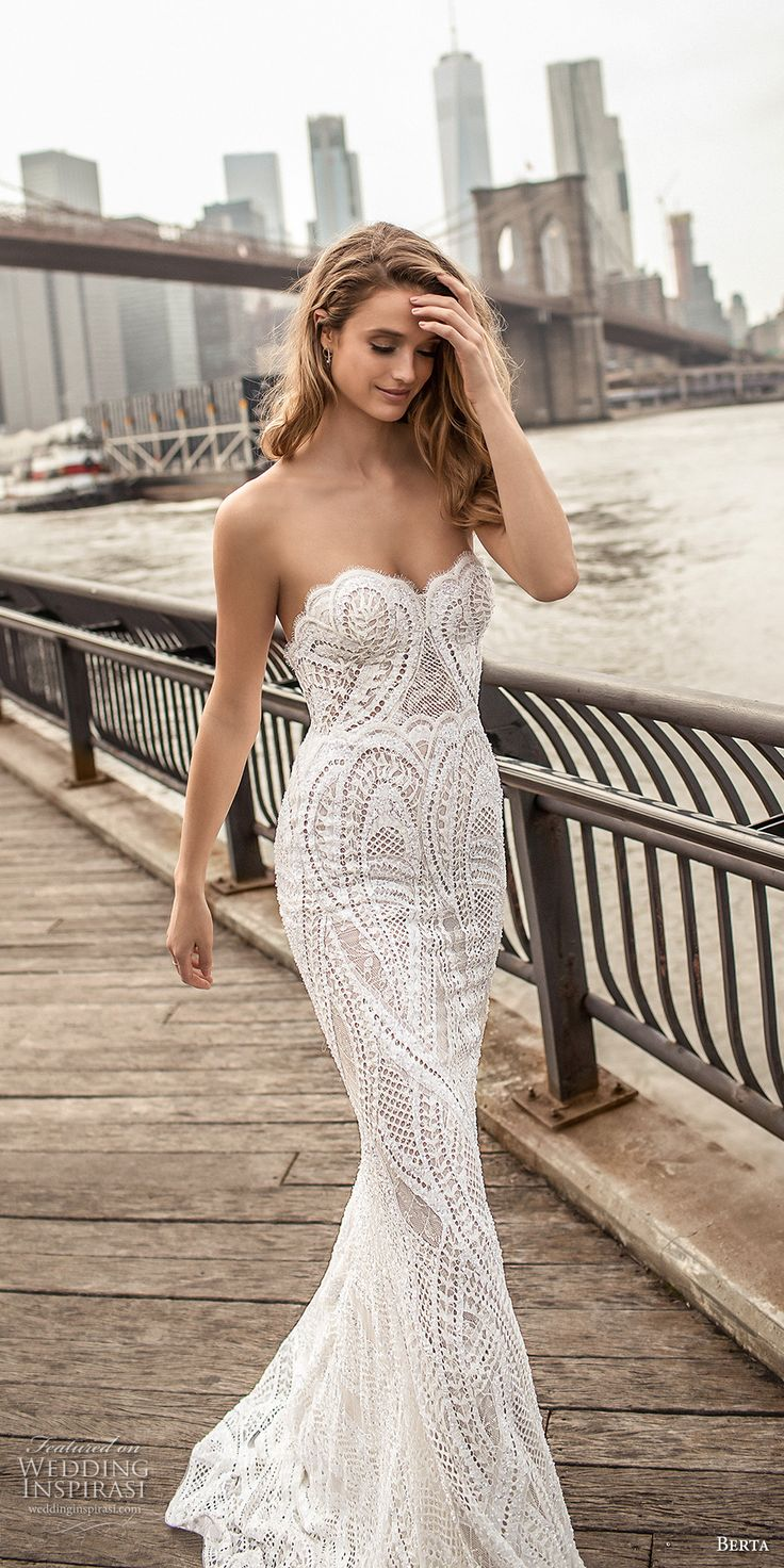 berta spring 2018 bridal strapless sweetheart neckline full embellishment elegant sexy sheath wedding dress poen back sweep train (11) zv -- Berta Spring 2018 Wedding Dresses