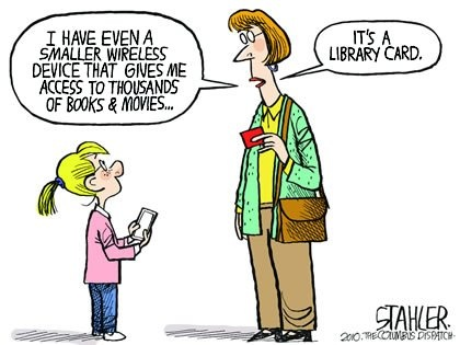 Der Büchereiausweis macht dem E-Book Konkurrenz.: Worth Reading, Libraries Cards, Librarians, Stuff, Cartoon, Books Worth, Libraries Humor, Funny, Wireless Devices