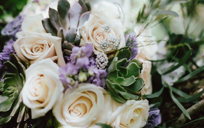 Hämta bilder bröllop bukett, lila rosor, vacker bukett, bröllop smycken, örhängen, smycken, rosor