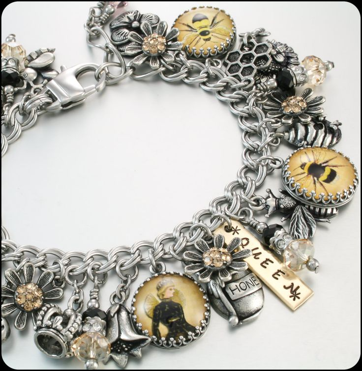 Queen Bee Charm Bracelet Bumblebee Bracelet by BlackberryDesigns, $123.00