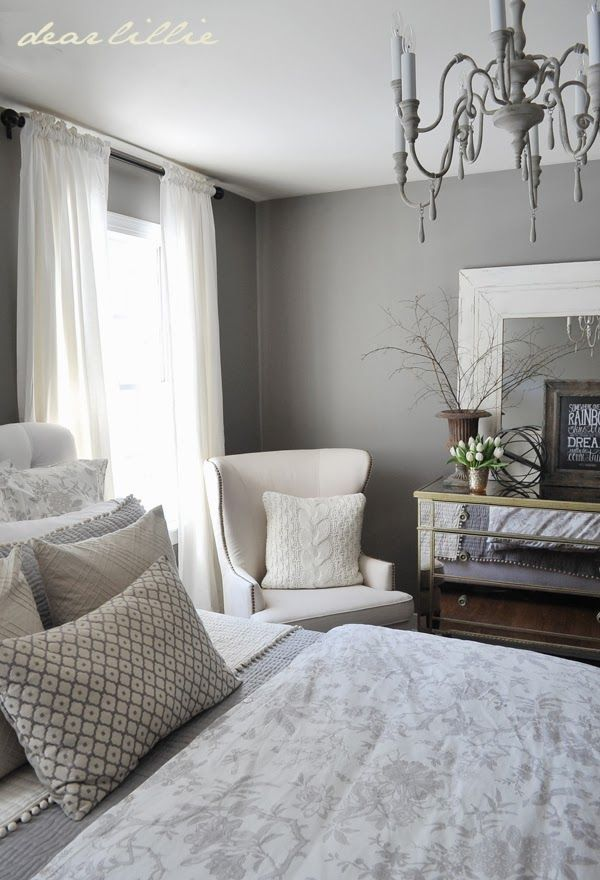 Love the Gray, White & Tan/Kaki color combo in this bedroom. Gray Guest Bedroom and a Full Source List by Dear Lillie