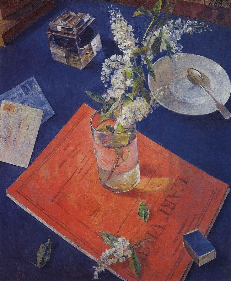 Kuzma Petrov-Vodkin: Bird cherry in a glass 1932