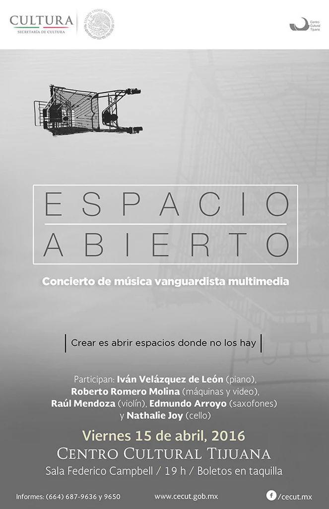 Participan: Iván Velázquez de León (piano), Roberto Molina (máquinas y video), Raúl Mendoza (violín), Edmundo Arroyo (saxofones) y Nathalye Joy (cello).