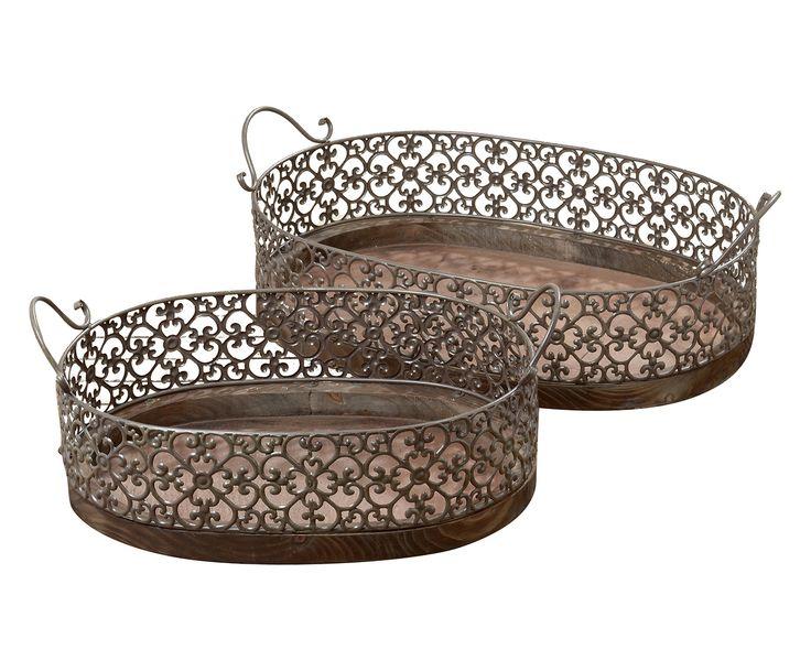 Set di 2 vassoi in legno e metallo Amira, max 63x38x21 cm | Dalani Home & Living