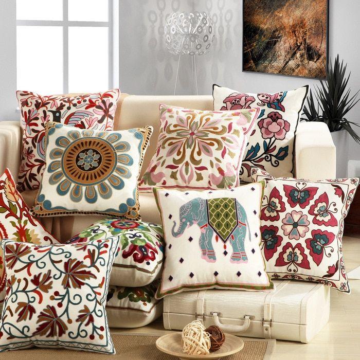 """18/"""" Embroidery Sofa Cushion Cover Car Waist Family Decoration Throw Pillowcase"""