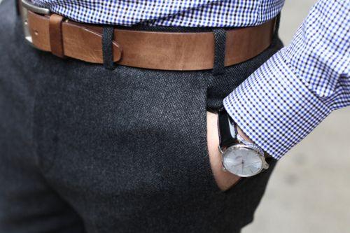 grey tweed brown leather belt black and blue
