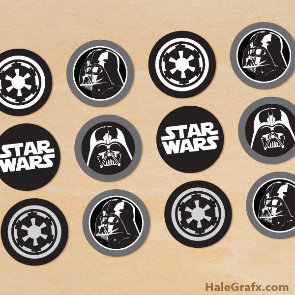 Click here to download FREE Printable Star Wars Darth Vader Cupcake Toppers!