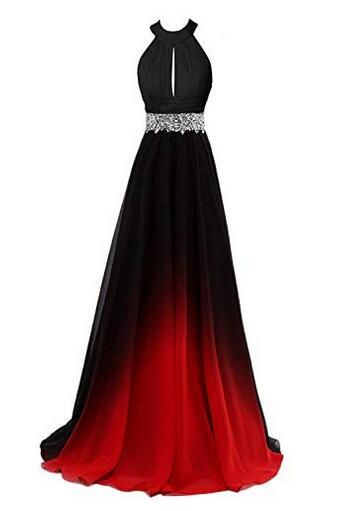 Women's Gradient B;ack & Red Long A-Line Prom Gown Ombre Chiffon Backless Evening Dresses,Formal Long Prom Dresses For Women, Elegant Sexy Evening Dresses, Beading Cocktail Party Dresses 6