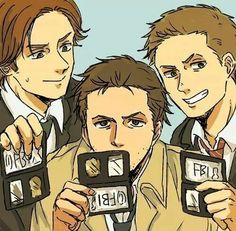 Supernatural: Dean, Sam Winchester, Castiel. Who cannot love this drawing? It's great!!