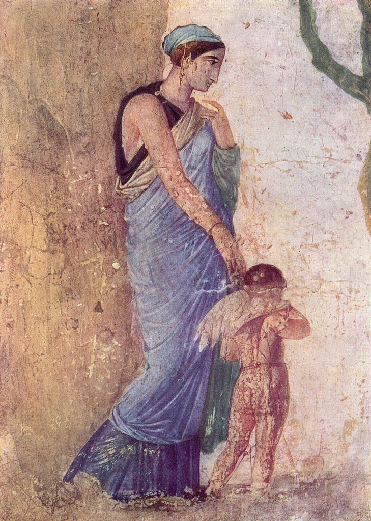 Venus (Aphrodite) and Amor (Eros), Roman fresco from Pompeii, 1st century AD…