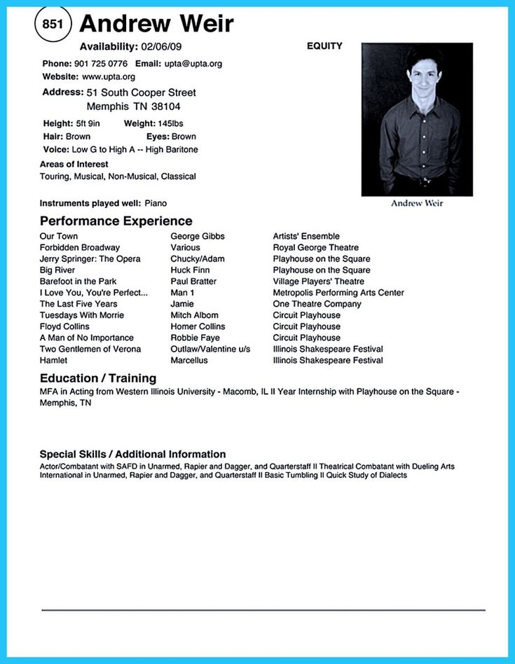 acting resume template templates word doc theater auditions format