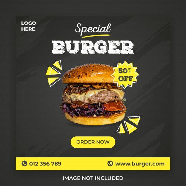 Special Burger Social Media Post Template Burger Tasty Pancakes Food Ads