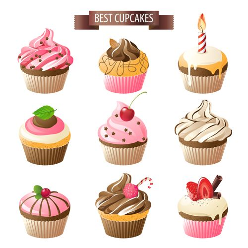 Best cupcakes icons material vector