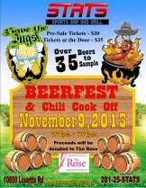 Come Out and Sample Beers and Chili for Charity Saturday, November 9th 2:00p.m. - 7:00p.m. There will be over 35 beers to sample from a variety of different beer vendors and breweries. From ales, to stouts, to IPAS and ciders, we will have it all. We have sat down with the Head Houston Brewmaster and carefully selected...