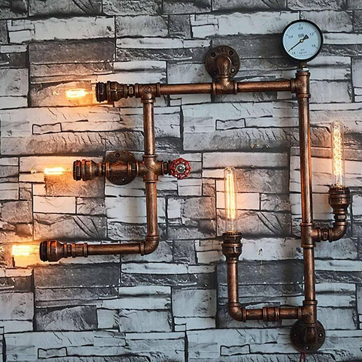 Lamp Retro Iron Industrial Steampunk Vintage Pipe Light Rustic 5-Way Wall Lamp