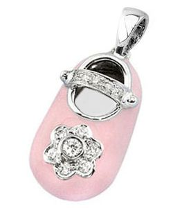 Pink Baby Shoe with Diamonds