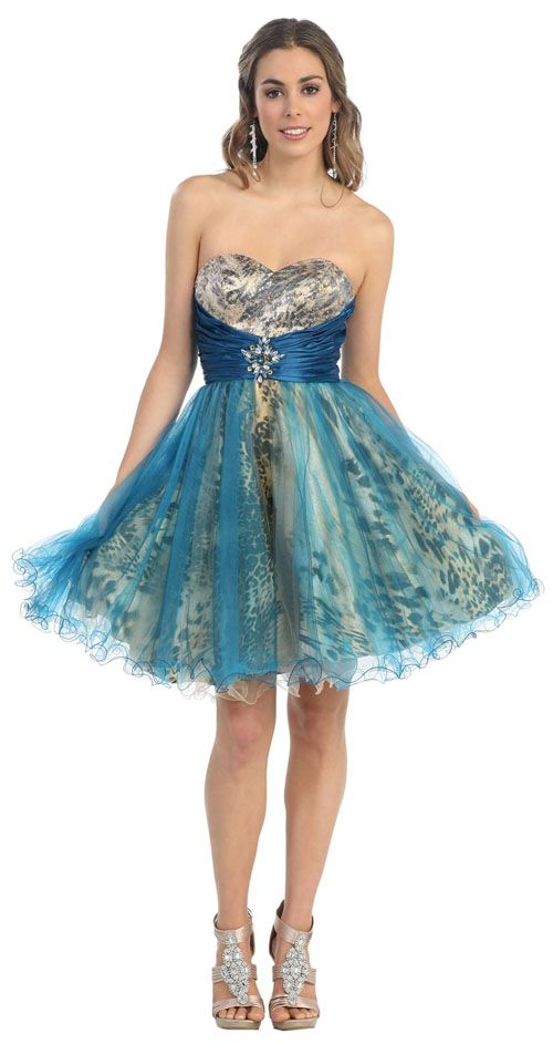 2012 Prom Dresses! Teal Multi Colored Strapless Wild & Free Tulle Cocktail Dress