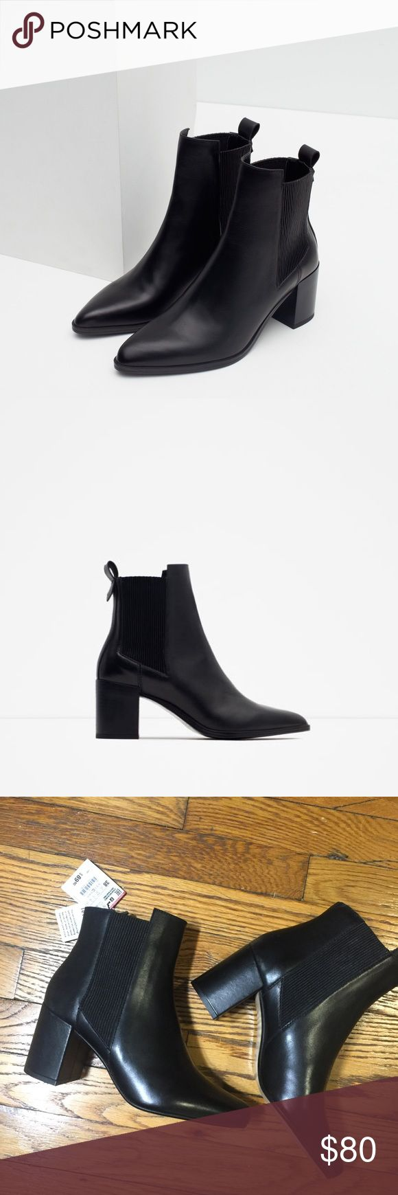 NWT Zara Woman Black Leather Heeled Boots Adorable, real leather black Chelsea ankle boot heels. Still with tags! Never wore them because I already have ones just like them! Size 38 in Zara. Purchased in NY. Super cute. Make an offer! Zara Shoes Heeled Boots
