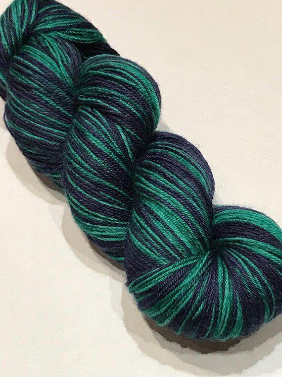 ef2fcb0e96fc Navy Blue and Emerald Green Hand-Dyed Sock Yarn Hand-Painted 4-ply  Superwash Merino Wool Nylon 100g 400m