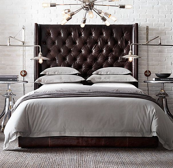 Adler Tufted Leather Platform Bed Without Footboard 2950