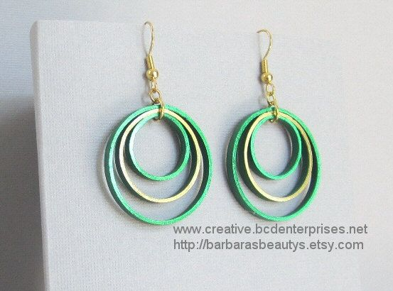 Quilling Earrings, Metallic Green and Gold on Green, Hoops. $10.00, via Etsy.