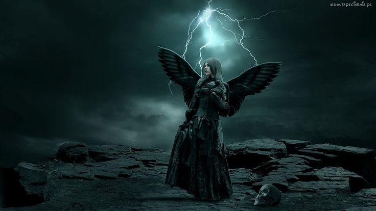 Kobieta, Anioł, Skrzydła, Piorun