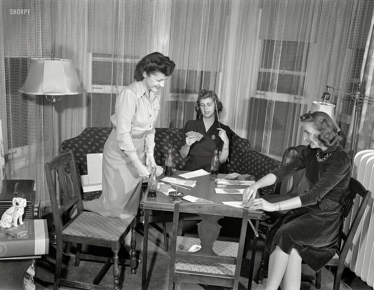 A Curious Photo Collection of Girls Playing Cards in 1941
